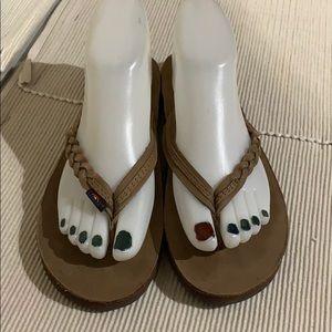 Rainbow 🌈 Braided Brown Thong Sandals EUC